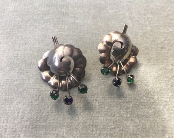 Sterling Silver with Blue and Green Rhinestone Earrings / 1950s / 1940s