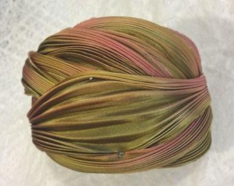 Shibori Ribbon Hand Dyed Shibori Silk Ribbon Gold with Rose