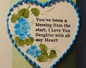 Daughter Heart Magnet, hand Painted with Pink roses