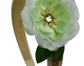 The Frog Prince Princess Inspired Flower Costume Arch Headband  - Ivory Mint and Gold