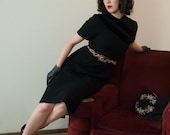 50% OFF SALE - Vintage 1950s Dress - Chic and Classic Little Black Dress in Wool with Black Velvet Accents