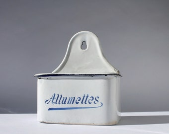 French Vintage Enamel Allumettes Match Safe, French Country Enamelware Match Holder