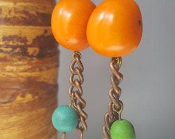 Tagua nut earrings, Tagua earrings, Eco-friendly necklace, Tagua nut jewelry, Tagua bead earrings, Beaded jewelry, Beaded earrings, Tagua