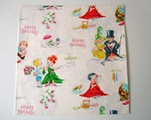 Vintage 1950's Sweet Little Girls and Boys Wrapping Paper White Gift Wrap Birthday Mid Century Dennison Paper