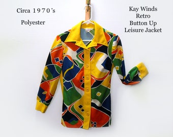 Kay Winds Vintage Blouse Long Sleeve Blouse Abstract Fabric Hippie Blouse Rockabilly Blouse Retro Blouse
