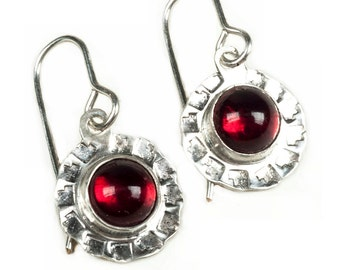 Southwest stamped silver earrings, Western silver dangle earrings with vintage ruby red cabochons