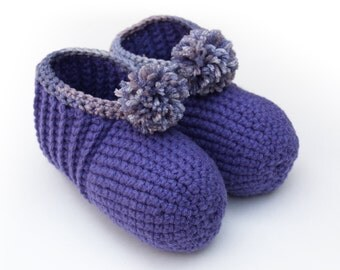 Purple Crocheted Slippers - (Lavender Fields) Crochet, lush, warm, comfort, womens, childrens, girls, cozy