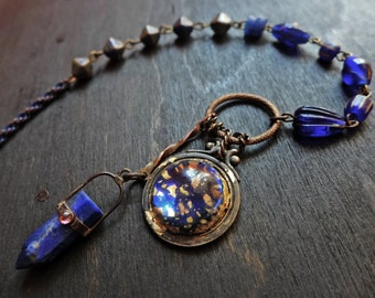 We are the Ocean. Cobalt blue assemblage necklace. Mixed media artisan handmade jewelry.