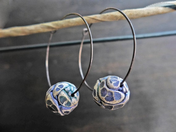 Music of the Spheres. Sterling hoop earrings with polymer clay art beads. Rustic artisan jewelry by fancifuldevices