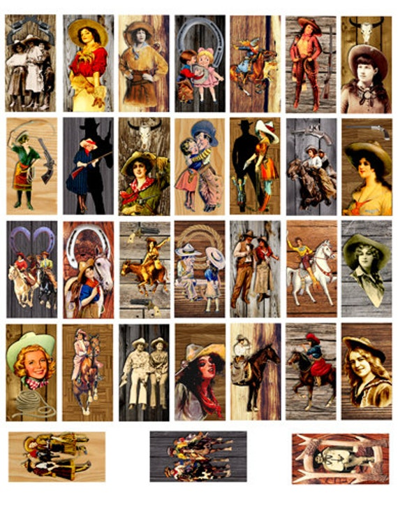 Cowgirls wood pinup girls 1x2 inch images DOMINOES Printable Download print yourself Digital Sheet for pendants bezel trays magnets crafts