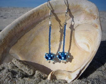 Blue Lampwork Bead Earrings