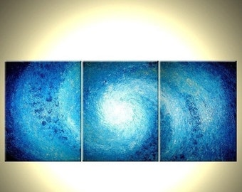 Original Painting, Contemporary Seascape, Abstract Blue Hurricane, Palette Knife Impasto STORM Art Lafferty - 54x24, 22% Off