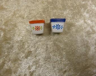 Pair of dollhouse miniature  terracotta  pots