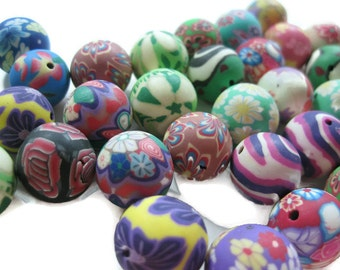 15mm Round Polymer Clay Beads Assorted Variety 50 pieces (C)
