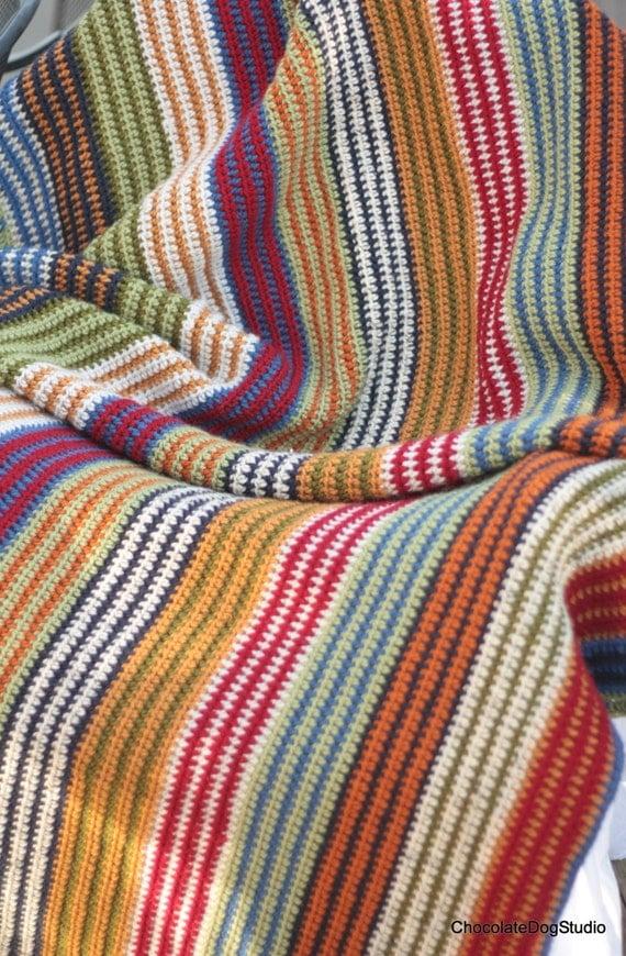Easy Crochet afghan pattern by ChocolateDogStudio on Etsy