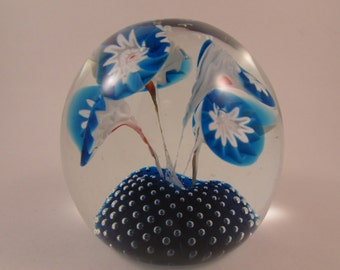 Vintage Murano Paperweight Blue and White Trumpet Flowers on a Blue Controlled Bubble Bed Made in Italy Italian Art Glass Paperweight