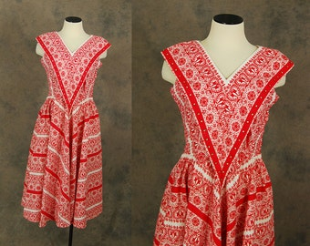 vintage 50s Dress - 1950s Bandana Print Day Dress Red and White Square Dance Dress Sz M