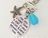 BEACH NECKLACE, beach wedding, beach quote, starfish, sea glass, charm necklace