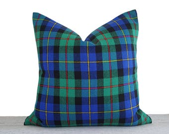 Green Blue Plaid Pillow Covers, Blue Green Throw Pillows, Teen Decorative Pillow Covers, Blue Green Black Red Pillows, 20x20, Dorm Decor