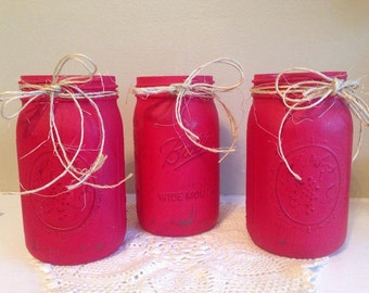 3pc Crimson Quart Sized Mason jar
