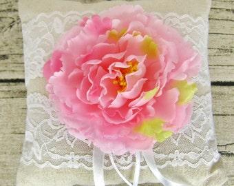 Peony ring pillow, wedding ring pillow, lace linen ring bearer, flower ring pillow