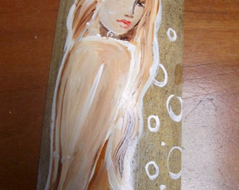HAND PAINTED Blue tail fantasy mermaid Art  on driftwood beach Decor