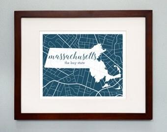 Massachusetts State Map Print - 8x10 Wall Art - Massachusetts State Nickname - Typography - Housewarming Gift