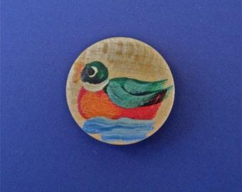 Vintage Wood Button Hand Painted Mallard Duck Self Shank