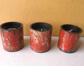 Red Metal Candle Holder, Industrial Lighting, Upcycled Candle Holder, Industrial Pipe, Industrial Salvage, Red Votive, Restaurant Lighting