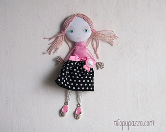 Young Pink Girl, Art doll brooch, Personalized gift for her