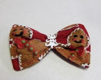 Fabric Hair Bow Christmas Ginger Bread Men
