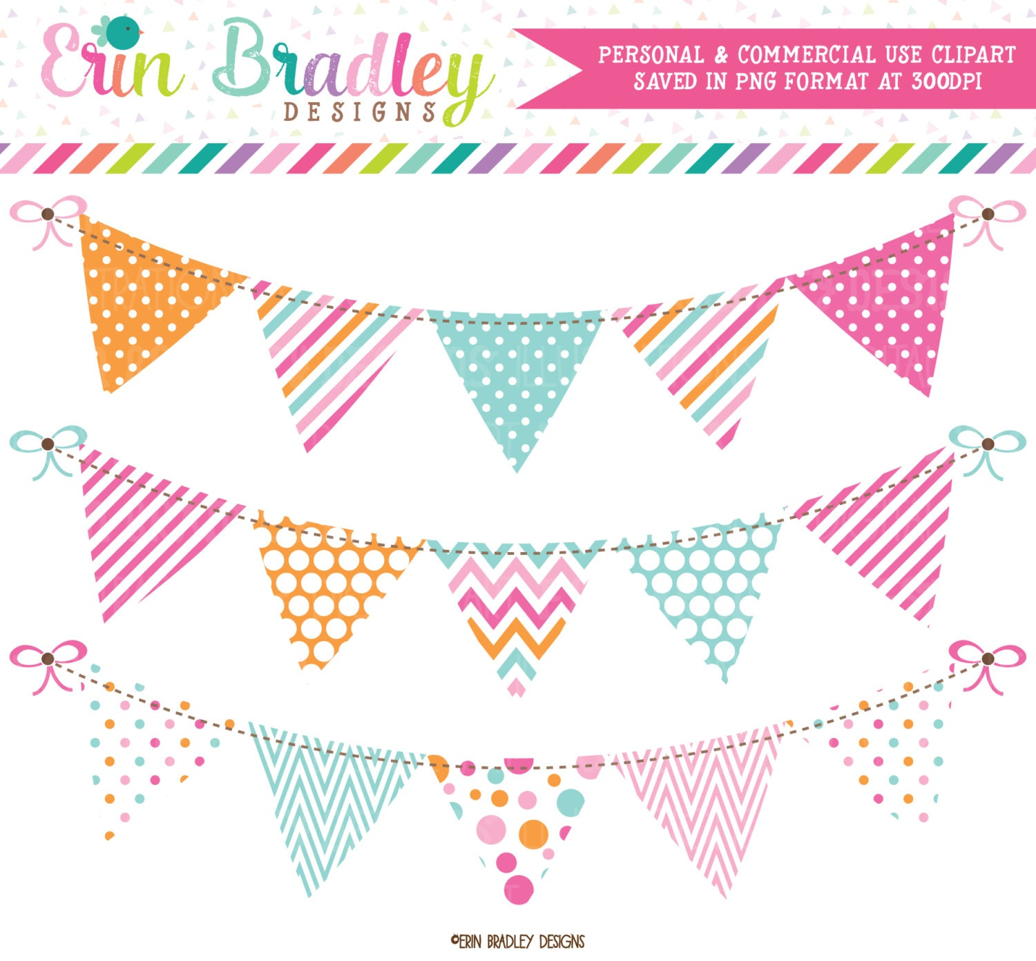 Clip Art Pennant Clipart pennant clipart etsy pink blue orange bunting banner flag graphics polka dots stripes chevron clip art instant download