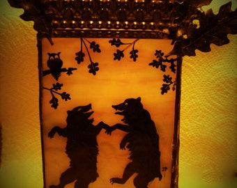 Hand Painted Gothic Moon Dance Bears Candle Holder - Stained Glass