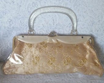 Pretty in Peach, Vintage Plastic Coated, Handbag, Purse