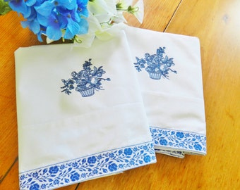Blue Pillowcases, Percale Machine Embroidery Pillowcases, Never Used, Jacquard Ribbon Pillowcases