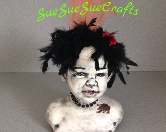 Doll head planter with black feathers steampunk halloween head black beads and tatoo  #09172015