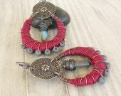 Silk Wrapped Hoop Earrings, Tribal, Bohemian, Gypsy Hoops, Eco Friendly Handmade Jewelry
