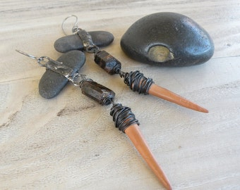 Handmade, Tribal,Assemblage Earrings, Long, Funky, Rustic, with Raw Hessonite, Beach Pebbles, and Vintage Clay