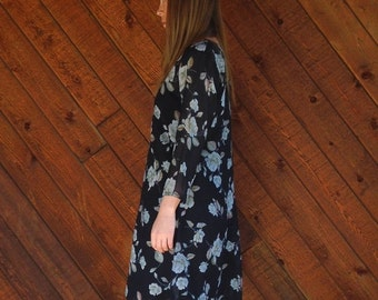 extra 30% off SALE ... Navy Floral Sheer Chiffon Mini Dress - Vintage 90s - MEDIUM
