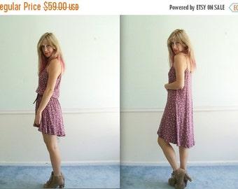30% off ... Ditsy Floral Fishtail Hem Mini Dress - Vintage 90s - M L