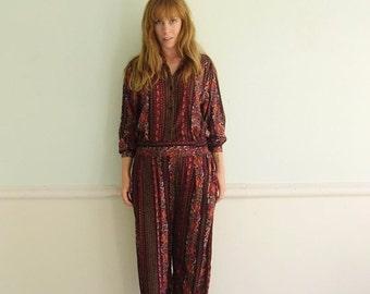 30% off ... Ethnic Paisley Print LS Matching Shirt and Trouser Pants Coordinates Set - Vintage 80s - MEDIUM M