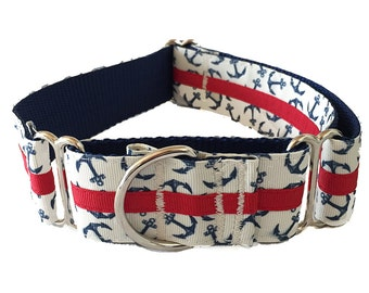 """1.5"""" Nautical Anchor Martingale or Buckle Dog Collar"""