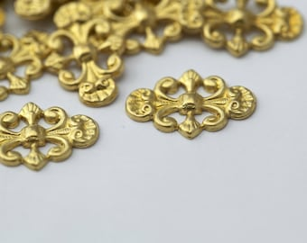 Gold Plated Brass Stamping Oval Curved Findings 17mm (20)