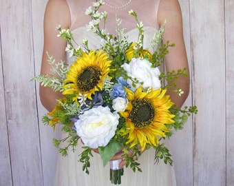 Yellow Sunflower & Blue Hydrangea Bridal Bouquet for your Summer Wedding