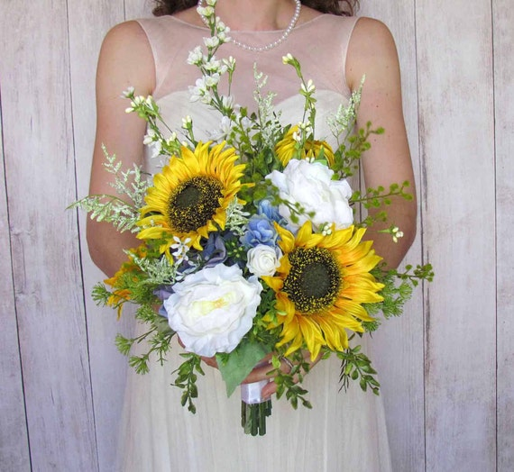 Blue Hydrangea Wedding Flowers: Yellow Sunflower & Blue Hydrangea Bridal Bouquet For Your