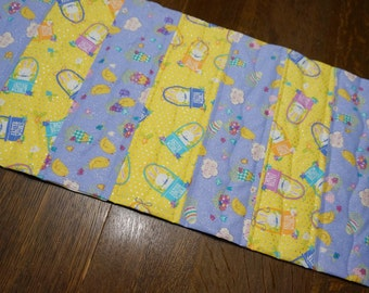 Quilted Easter Table Runner Reverses to Grey, Yellow and Black for Spring, Summer, Fall
