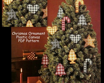Christmas Ornaments - Plastic Canvas Pattern - Bell, Candy Cane, Star, Tree, Heart - Instant Download PDF 10130629