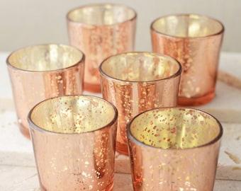 Sale 30 Rose Gold Mercury Glass Votive Candle Holders Lot Wedding Reception Party Celebration Decor
