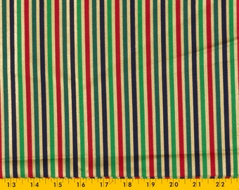 Red Christmas Fabric 100 percent cotton, Stripes of Red/Greens/Black separated by narrow stripes of Metallic Gold, 1 1/2 yds Sell as 1 piece