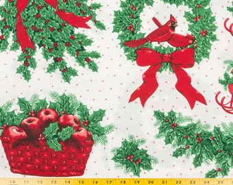 Christmas fabric, Appliques, Cotton, Fabric Traditions, 4 repeats, each 18 by 46 in. wide, Apple basket, holly wreath, sleighs, Cardinals